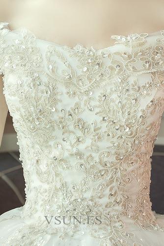 Vestido de novia largo Reloj de Arena Sala Apliques Cordón Invierno - Página 5