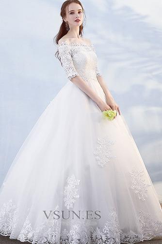 Vestido de novia Hasta el suelo Abalorio Otoño Formal Capa de encaje - Página 3