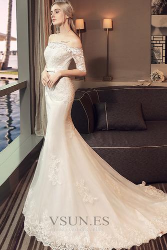 Vestido de novia Natural La mitad de manga Cordón Arco Acentuado Corte Sirena - Página 3