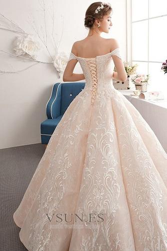 Vestido de novia Natural Corte-A Escote con Hombros caídos Pera Capa de encaje - Página 2
