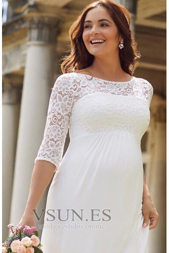 Vestido de novia Imperio Imperio Cintura Sencillo Playa Cremallera Encaje - Página 4