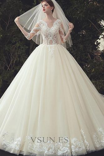 Vestido de novia Pura espalda Capa de encaje Cola Catedral Elegante - Página 5