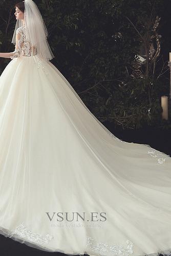 Vestido de novia Pura espalda Capa de encaje Cola Catedral Elegante - Página 2