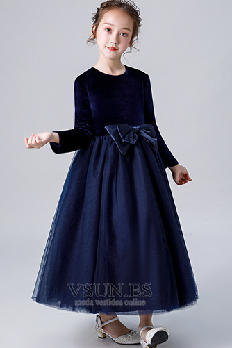 Vestido niña ceremonia Elegante Otoño Hasta el Tobillo Camiseta Fajas Cremallera - Página 3