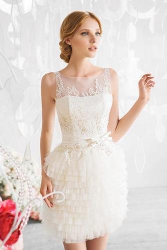 Vestido de novia Barco Corte Recto Glamouroso Fuera de casa Escalonado - Página 1