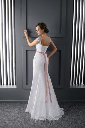 Vestido de novia Barco Fajas Natural Cordón Sin mangas Cola Barriba - Página 2