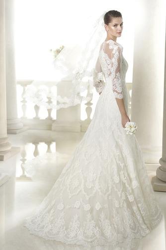 Vestido de novia Encaje Manga de longitud 3/4 Corte-A Sala Con velo - Página 2
