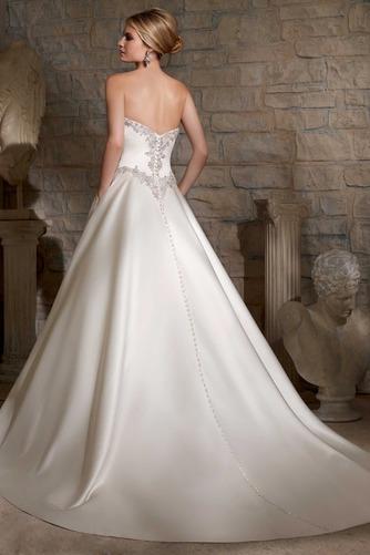 Vestido de novia Cinturón de cuentas largo Escote Corazón Cremallera - Página 2