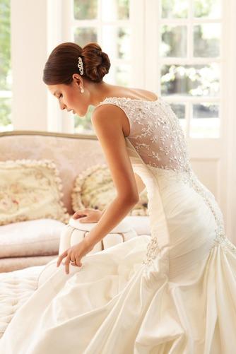 Vestido de novia Corte Sirena Sin mangas Formal Cremallera largo Escote en V - Página 3