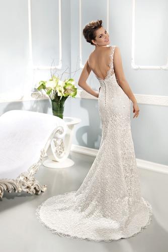 Vestido de novia Corte Sirena Cremallera Barco Natural Otoño Cola Capilla - Página 2
