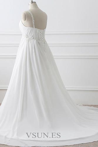 Vestido de novia Imperio largo Fuera de casa Sin mangas Escote de Tirantes Espaguetis - Página 3