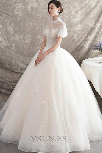 Vestido de novia Manga corta Natural Iglesia Corte-A Falta Organza - Página 3