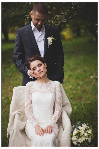 Vestido de novia Escote con cuello Alto Apertura Frontal Verano Manga larga - Página 5
