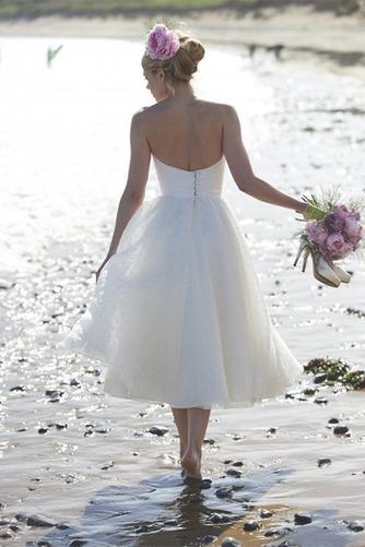 Vestido de novia Sin tirantes Fuera de casa Glamouroso Sin mangas Corte-A - Página 2