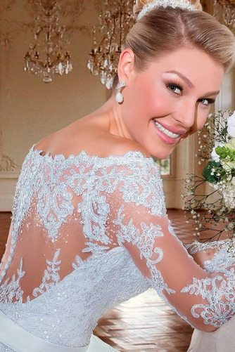 Vestido de novia Cremallera Manga larga Flores Sala Escote con Hombros caídos - Página 5