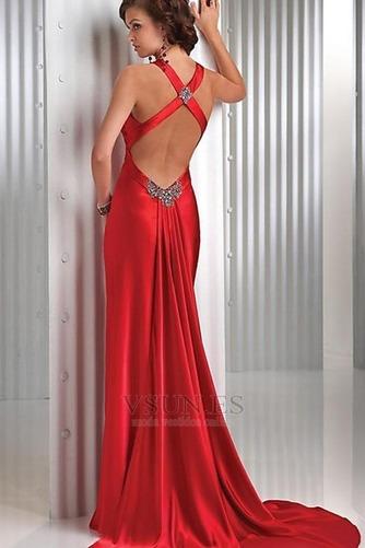 Vestido de fiesta Rojo Oscuro Criss Cross Blusa plisada Falta Espalda Descubierta - Página 2