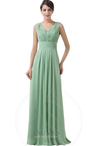 Vestido de dama de honor Corte-A Sencillo Espalda Descubierta Natural Hasta el suelo - Página 4