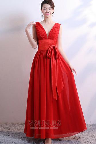 Vestido de dama de honor Falta Lazos Corte-A Natural Sin mangas Baja escote en V - Página 4