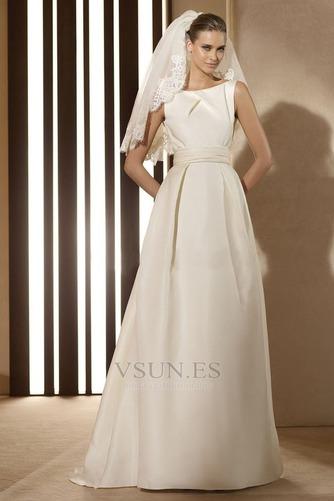 Vestido de novia vintage Diosa Barco Sin mangas Otoño Marfil - Página 4