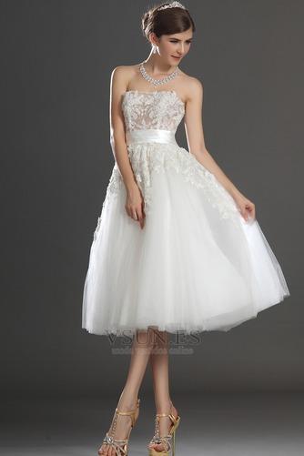 Vestido de novia Romántico tul Blanco Hinchado Abalorio Natural - Página 3