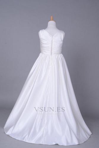 Vestido niña ceremonia Cola Capilla Blanco Invierno Sala Cremallera Blusa plisada - Página 3