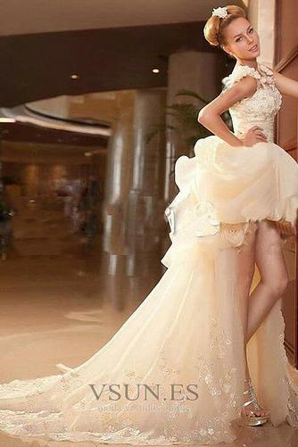 Vestido de novia Abalorio Sin mangas Tiras anchas Alto Bajo Cremallera - Página 8