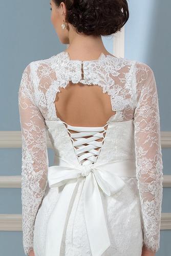 Vestido de novia Corte Recto Otoño Elegante Cordón Queen Anne Volantes Adorno - Página 5
