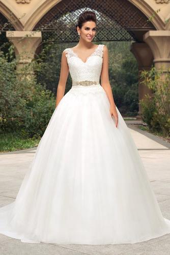 Vestido de novia largo Triángulo Invertido Sala Cinturón de cuentas - Página 1