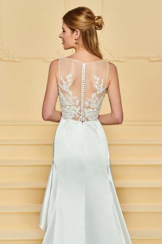 Vestido de novia Satén Plisado Triángulo Invertido Pura espalda Asimètrico - Página 5