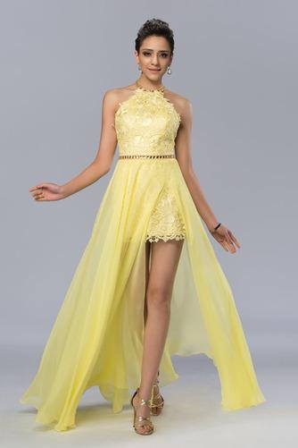 Vestido de fiesta Elegante Apertura Frontal Natural Sin mangas Encaje - Página 1