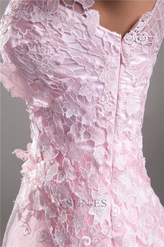 Vestido de cóctel Corto Corte-A Encaje Escote Asimètrico Espalda medio descubierto - Página 3