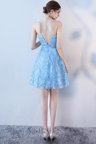 Vestido de cóctel Corte-A Apliques Glamouroso Encaje Escote de Tirantes Espaguetis - Página 4