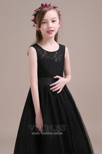 Vestido niña ceremonia Falta Sin mangas Verano Corte-A Natural Encaje - Página 5
