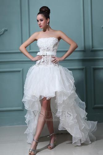 Vestido de novia Sin tirantes Manzana Asimétrico Dobladillo Cintura Baja - Página 3