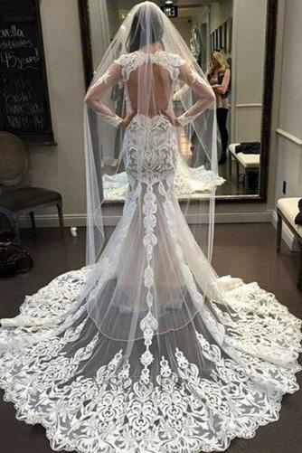 Vestido de novia Corte Sirena Verano Mangas Illusion Formal Apliques - Página 2