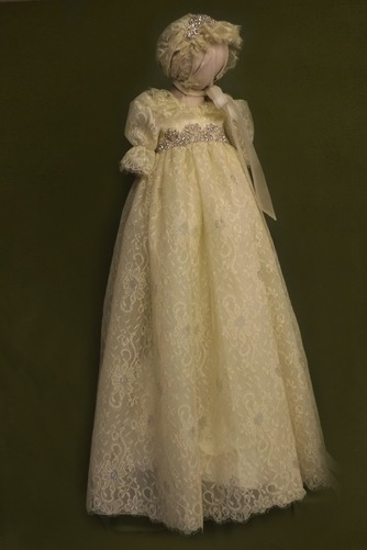 Vestido de Bautizo Imperio Cintura Joya Corte princesa primavera Abalorio - Página 1