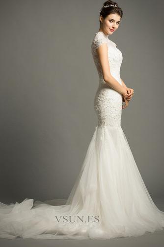 Vestido de novia Apliques Cola Corte Formal Cremallera Corpiño Acentuado con Perla - Página 5