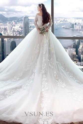 Vestido de novia Elegante Escote con Hombros caídos Capa de encaje Camiseta - Página 2