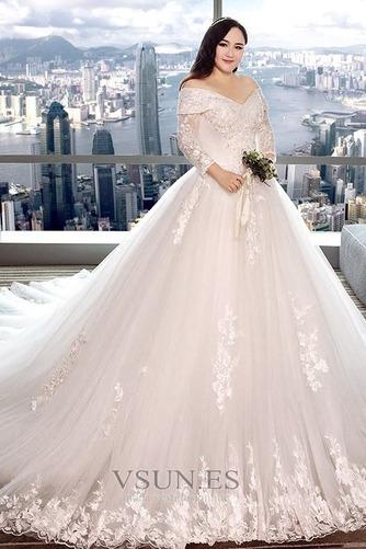 Vestido de novia Capa de encaje Apliques Triángulo Invertido largo Natural - Página 4
