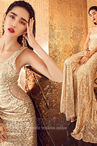 Vestido de fiesta largo Con lentejuelas Estrellado Corte Recto Espalda Descubierta - Página 4