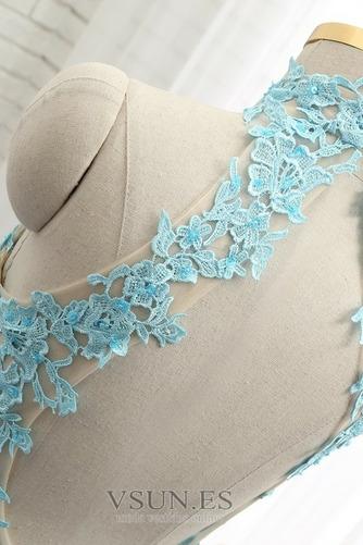 Vestido de fiesta Verano Escote con cuello Alto Capa de encaje Sin mangas - Página 6