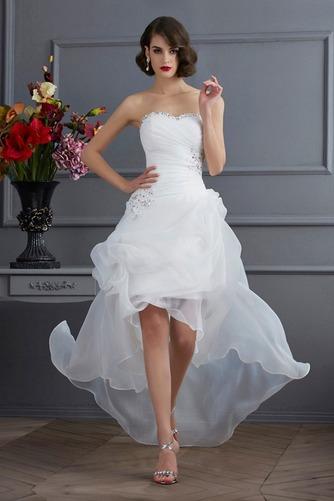 Vestido de novia Sin mangas Dobladillos Cintura Baja Escote Corazón - Página 1