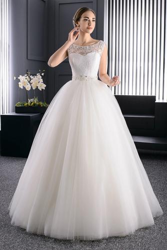Vestido de novia Verano Barco Perlas Cordón Sala Formal - Página 1