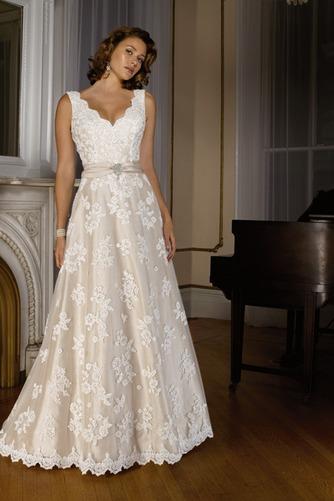 Vestido de novia Fuera de casa Encaje Corte-A primavera largo Escote en V - Página 1
