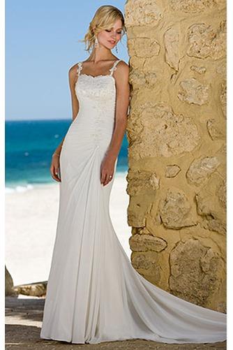 Vestido de novia Corte Sirena Elegante Cordón Sin mangas Escote de Tirantes Espaguetis - Página 1