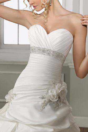 Vestido de novia Iglesia Formal Satén Flores Sin mangas largo - Página 2