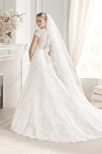 Vestido de novia largo Encaje Corte Sirena Manga tapada Sala Encaje - Página 2