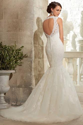 Vestido de novia Apliques Natural Espalda medio descubierto largo Encaje - Página 2