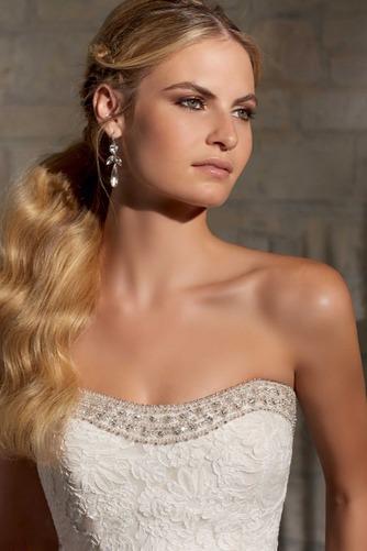 Vestido de novia Corte Sirena Natural Sin mangas Botón largo Escote Corazón - Página 3