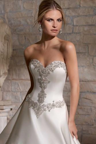 Vestido de novia Cinturón de cuentas largo Escote Corazón Cremallera - Página 3